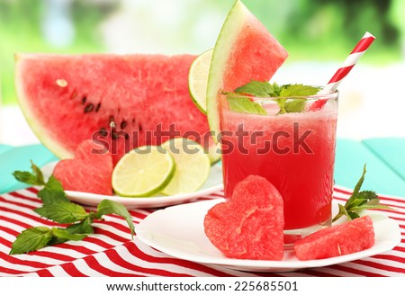 Watermelon cocktail on table, close-up - stock photo