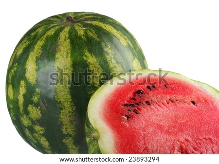 Watermelon fruit slice detail on white background