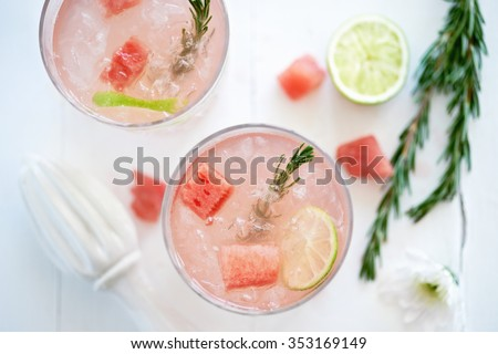 Watermelon fruity cocktail mocktail drink decorated with cubes of fresh watermelon and rosemary - stock photo