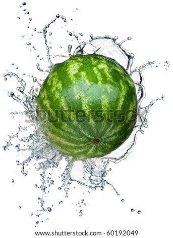 Watermelon in spray of water. Juicy watermelon with splash on white background