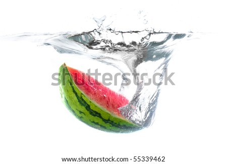 Watermelon in water - stock photo