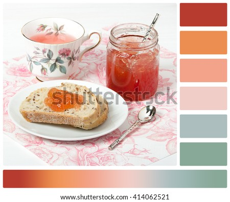 Watermelon Jam, Herbal Tea, Marshmallows. Palette With Complimentary Colour Swatches - stock photo