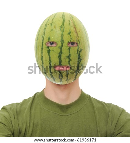 Watermelon on a man's head isolated on white background - stock photo