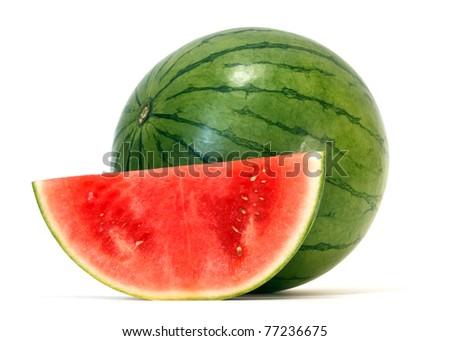 watermelon over white background - stock photo