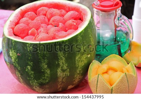 Watermelon party to celebrate summer with fresh mint and melon drink watermelon sliced 2 - stock photo