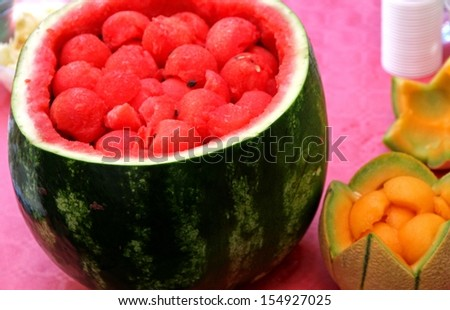 Watermelon party to celebrate summer with fresh mint and melon drink watermelon sliced 3 - stock photo