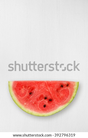 Watermelon piece on table top view - stock photo