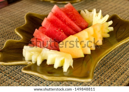 Watermelon Pineapple and Cantaloupe on the leaf plate