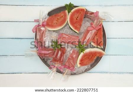 watermelon popsicles - stock photo