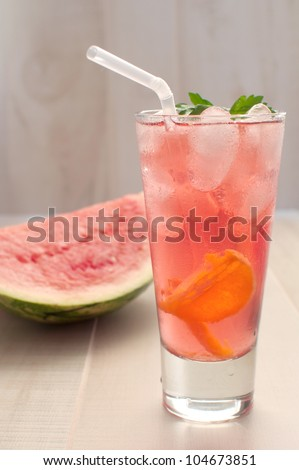 Watermelon punch or lemonade iced - stock photo