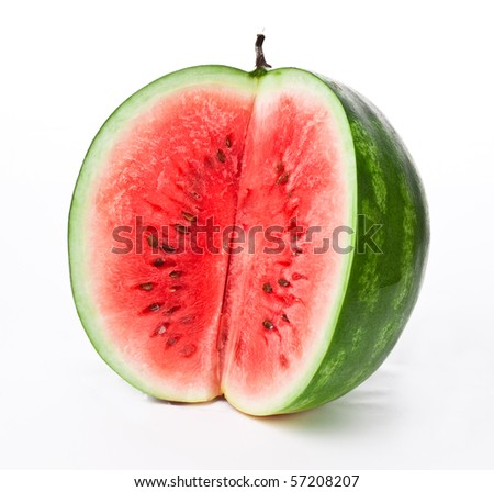 watermelon slice isolated on white - stock photo