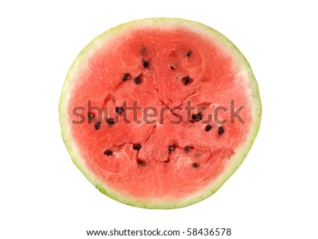 Watermelon slice isolated on white. - stock photo