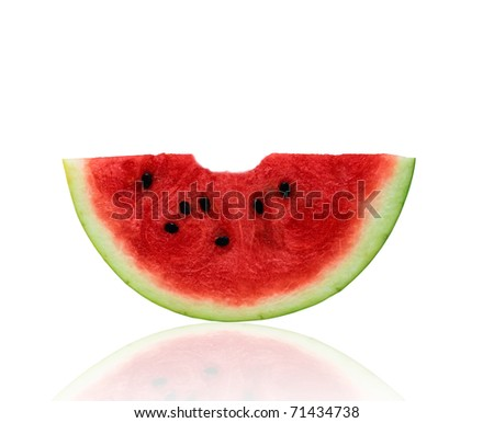 Watermelon slice isolated on white background - stock photo