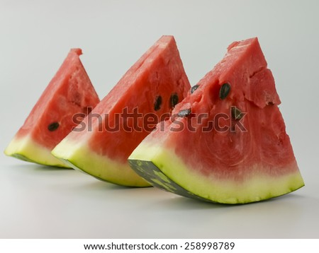 watermelon slices on white background - stock photo