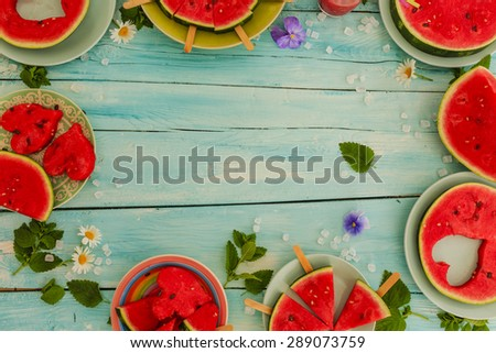 Watermelon - the delights of watermelon, frame - stock photo