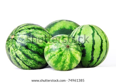 Watermelons. Group of sweet watermelon isolated on white. - stock photo