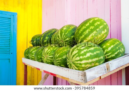Watermelons in a stall, Jamaica