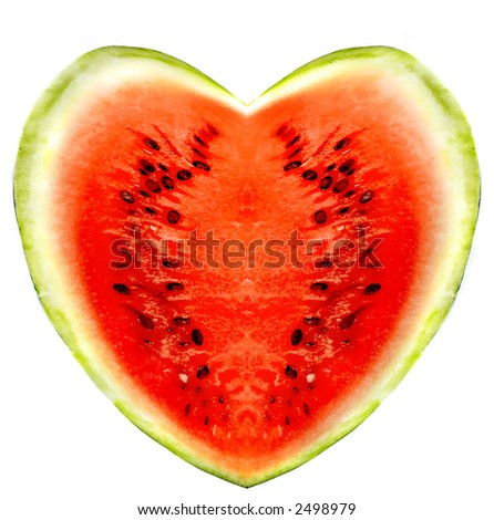 watermelons on a white background - stock photo