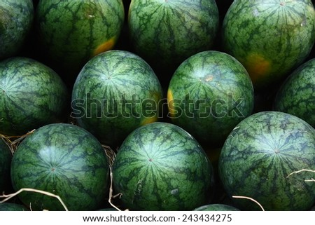 Watermelons were piled up.
