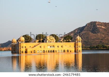 Waterpalace at Man Sagar Lake in Jaipur, Rajasthan, India - stock photo