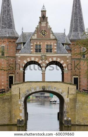 Waterpoort van Sneek (water gate), Sneek, Friesland, Netherlands - stock photo