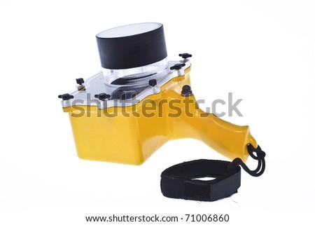 Waterproof camera housing isolated on white background - stock photo