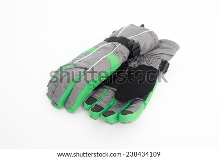 Waterproof Gray and Green Snow Gloves - stock photo