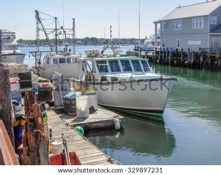 waterside harbor scenery with ships and boats in Portland, Maine (USA)