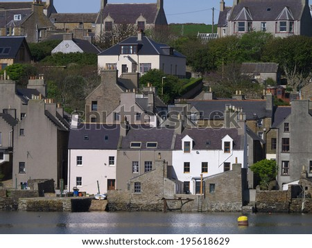 Waterside Houses, Orkney Mainland, Stromness Harbour  - stock photo