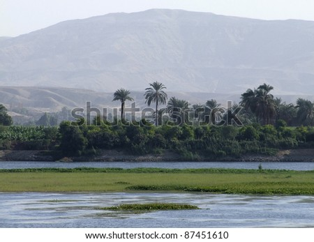 waterside scenery at Nile in Egypt - stock photo