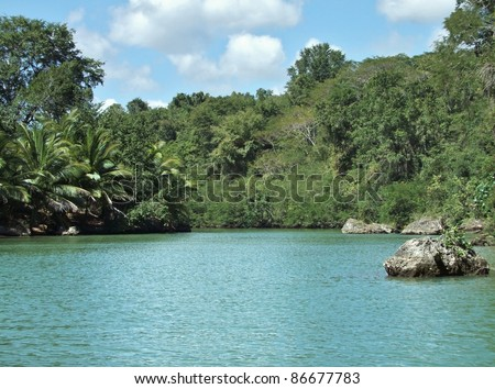 waterside scenery at the Dominican Republic, a island of Hispanola wich is a part of the Greater Antilles archipelago in the Carribean region - stock photo