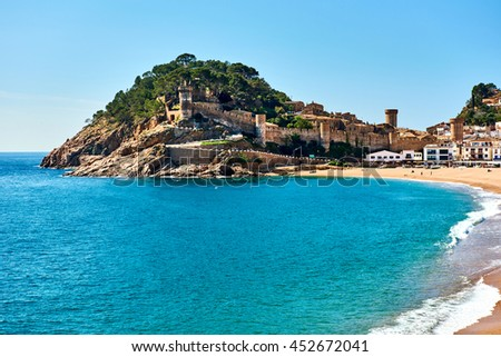Waterside view of a Vila Vella, the oldest part of the town of Tossa del Mar, Costa Brava, Catalonia, Spain