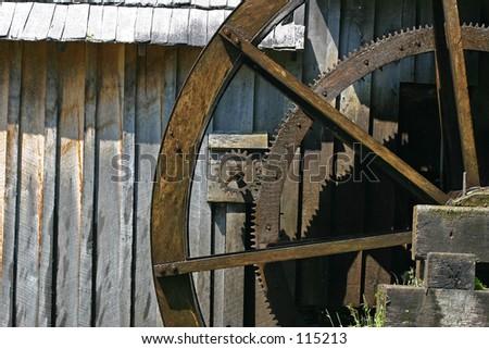 Waterwheel gears. - stock photo