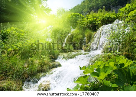 wateterfall in deep forest - stock photo