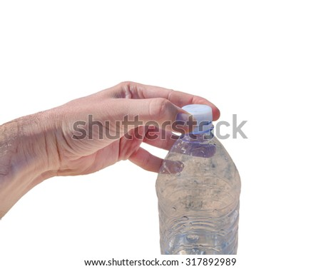 Watter bottle opening isolated on white - stock photo