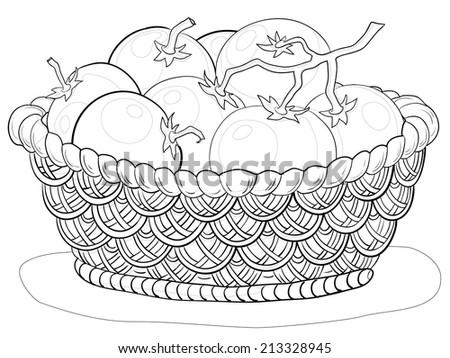 Wattled basket with tomatoes, black contours isolated on white background. - stock photo