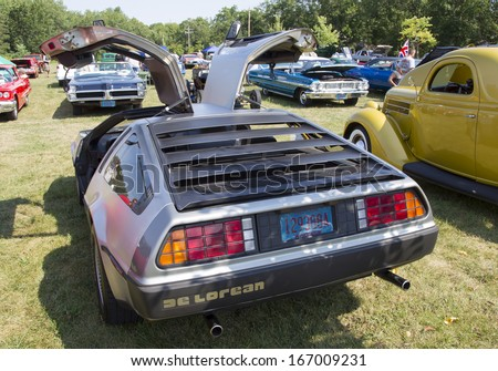 WAUPACA, WI - AUGUST 24:  Back of 1981 DeLorean Car at Waupaca Rod and Classic Annual Car Show August 24, 2013 in Waupaca, Wisconsin. - stock photo