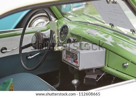 WAUPACA, WI - AUGUST 25: Interior of 1959 Nash Metropolitan Checker Taxi Cab car at the 10th Annual Waupaca Rod & Classic Car Club Car Show on August 25, 2012 in Waupaca, Wisconsin. - stock photo
