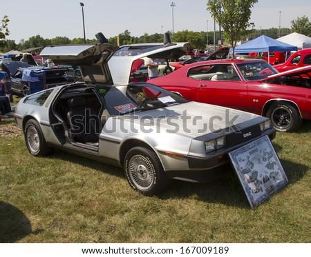 WAUPACA, WI - AUGUST 24:  Side of 1981 DeLorean Car at Waupaca Rod and Classic Annual Car Show August 24, 2013 in Waupaca, Wisconsin. - stock photo