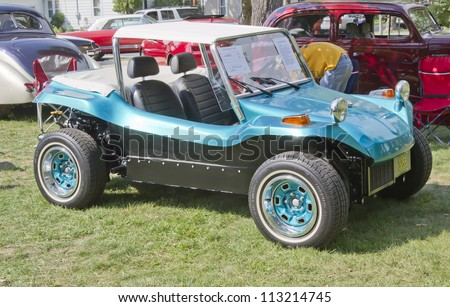 WAUPACA, WI - AUGUST 25:  Side of Vintage Aqua Blue Buggy car at the 10th Annual Waupaca Rod & Classic Car Club Car Show on August 25, 2012 in Waupaca, Wisconsin.