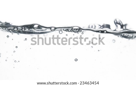 wave and bubbles over white background