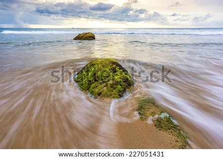 Wave and rock at the beach, Phang-nga, Thailand - stock photo