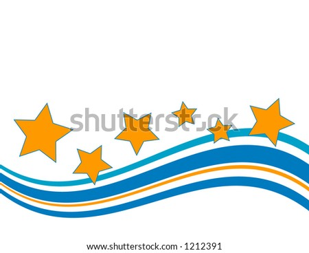 Wave and stars in a retro or seventies look for a background or other printed pieces - stock photo