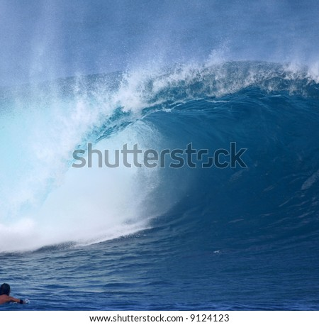 wave at Pipeline Hawaii - stock photo