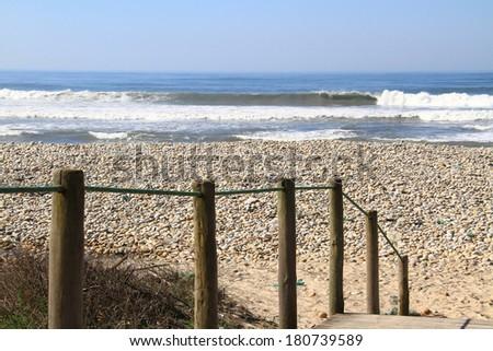 Wave breaking in empty lineup, Viana do Castelo coastline, Portugal - stock photo