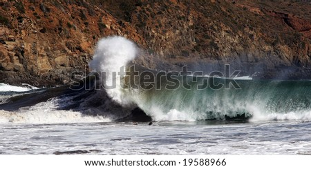 wave crashing, baja california , mexico - stock photo