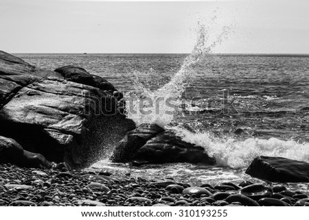 Wave Crashing Into Rocks at Boom Beach, Maine