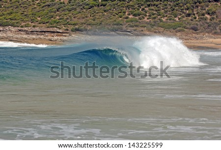 Wave Cresting in Surf, Sydney, Australia - stock photo