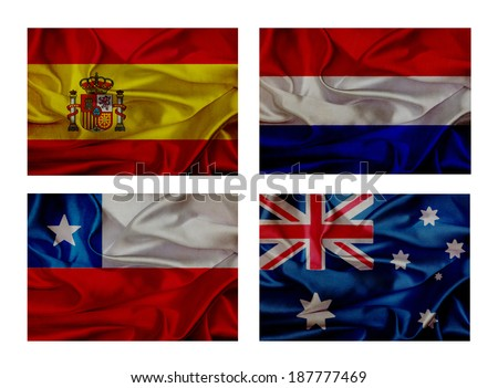 wave flags set - stock photo