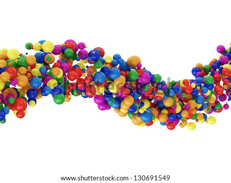 Wave from Colorful Balls isolated on white background - stock photo